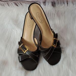 🌸Talbots Leather Slide Sandal Dark Brown sz 7AA
